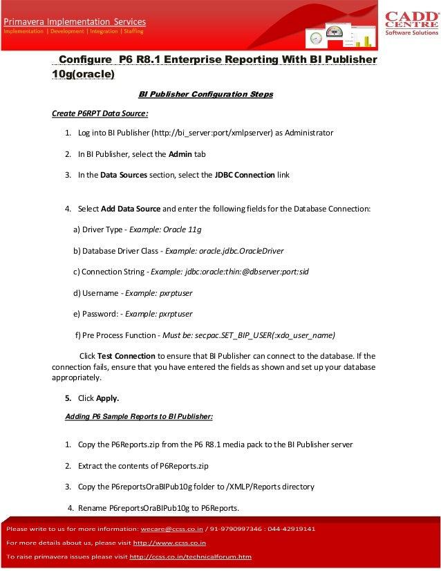 Primavera configure  P6 R8.1 Enterprise Reporting with BI publisher(Oracle)