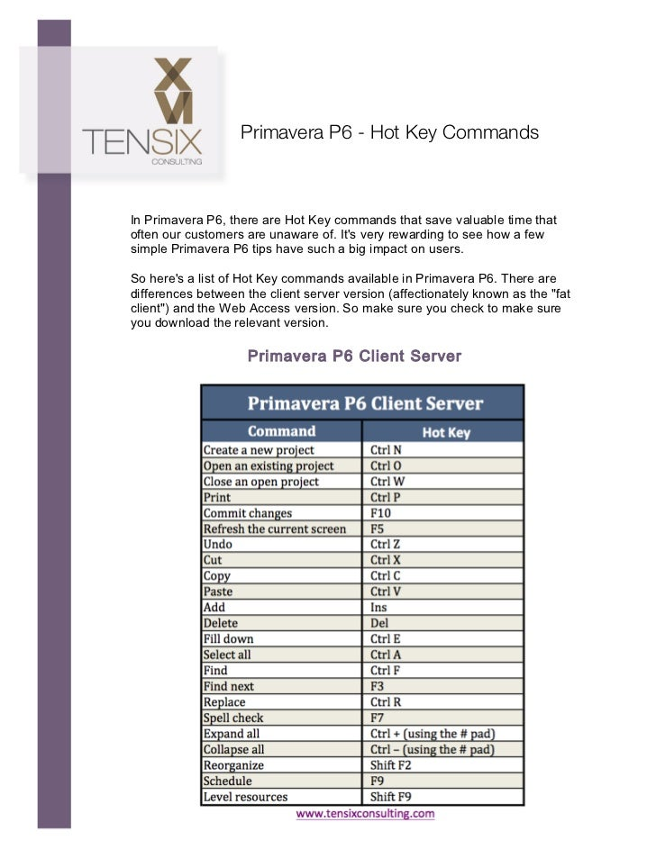 Primavera P6 - Hot Key Commands       In Primavera P6, there are Hot Key commands that save val...