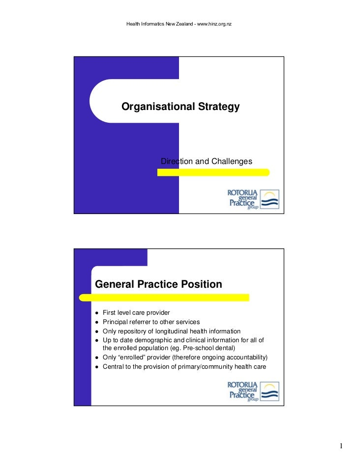 Organisational Strategy for General Practice - Direction and Challenges