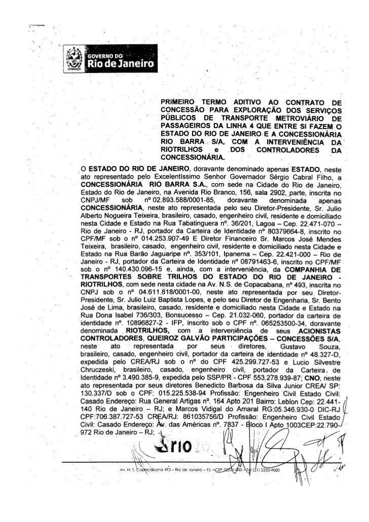 Primeiro Termo aditivo ao Contrato de Concessão da Concessionária Rio Barra - 25-02-2010