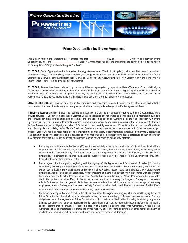 Prime Opportunities Inc Broker Agreement