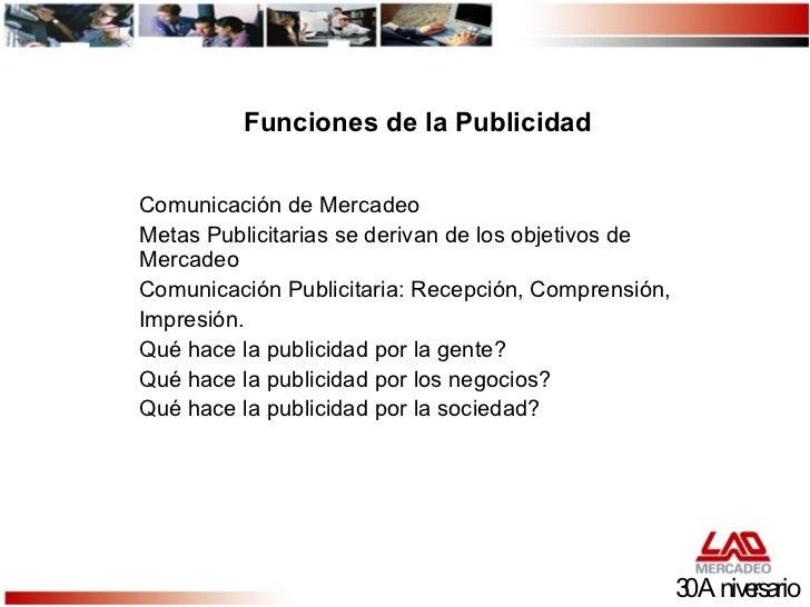 Funciones de la Publicidad Comunicación de Mercadeo Metas Publicitarias se derivan de los objetivos de Mercadeo Comunicaci...