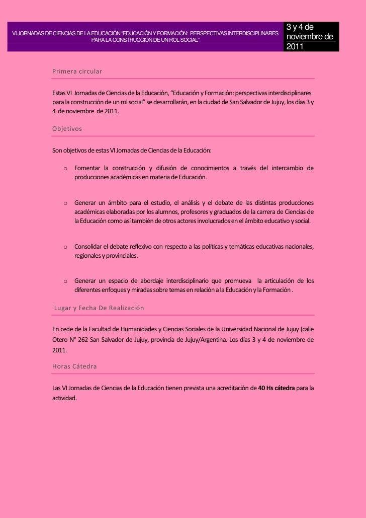 """3 y 4 deVI JORNADAS DE CIENCIAS DE LA EDUCACIÓN """"EDUCACIÓN Y FORMACIÓN: PERSPECTIVAS INTERDISCIPLINARES                   ..."""