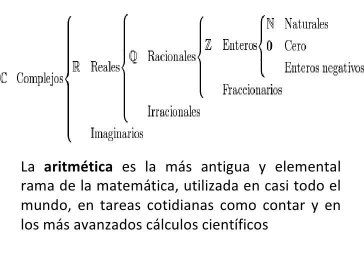 <ul><li>La  aritmética  es la más antigua y elemental rama de la matemática, utilizada en casi todo el mundo, en tareas co...
