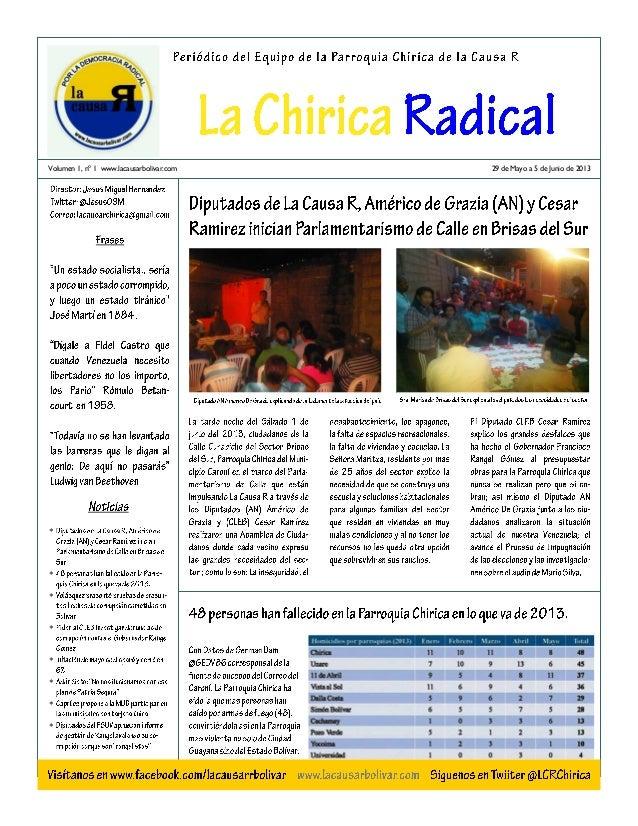 Volumen 1, nº 1 www.lacausarbolivar.com29 de Mayo a 5 de Junio de 2013
