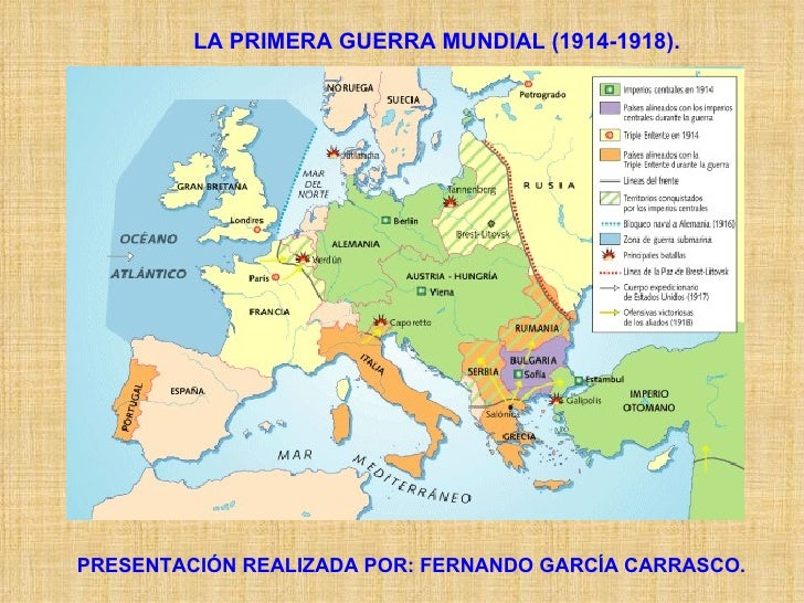 LA PRIMERA GUERRA MUNDIAL (1914-1918). PRESENTACIÓN REALIZADA POR: FERNANDO GARCÍA CARRASCO.