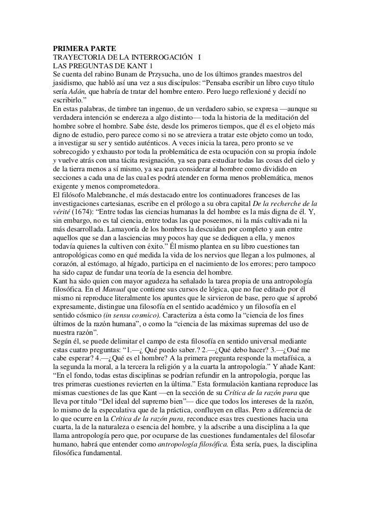PRIMERA PARTETRAYECTORIA DE LA INTERROGACIÓN ILAS PREGUNTAS DE KANT 1Se cuenta del rabino Bunam de Przysucha, uno de los ú...