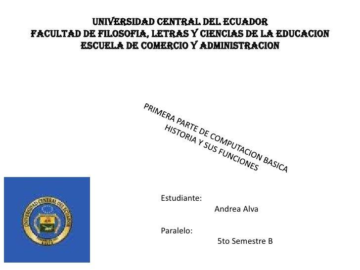 UNIVERSIDAD CENTRAL DEL ECUADORFACULTAD DE FILOSOFIA, LETRAS Y CIENCIAS DE LA EDUCACION        ESCUELA DE COMERCIO Y ADMIN...
