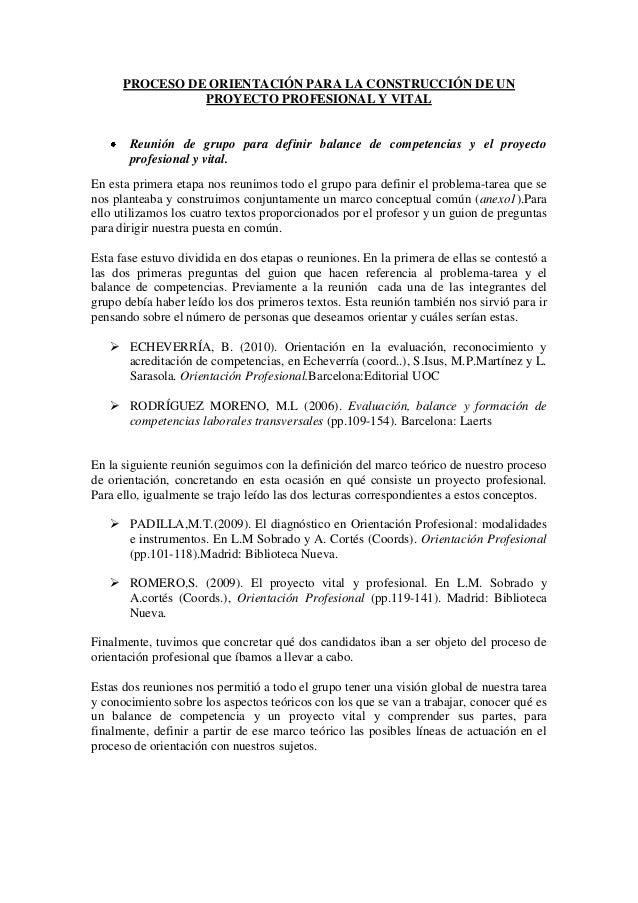 PROCESO DE ORIENTACIÓN PARA LA CONSTRUCCIÓN DE UNPROYECTO PROFESIONAL Y VITALReunión de grupo para definir balance de comp...