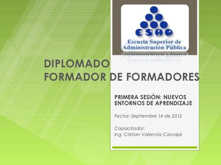 DIPLOMADOFORMADOR DE FORMADORES         PRIMERA SESIÓN: NUEVOS         ENTORNOS DE APRENDIZAJE         Fecha: Septiembre 1...