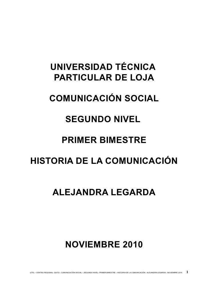 UNIVERSIDAD TÉCNICA                     PARTICULAR DE LOJA                     COMUNICACIÓN SOCIAL                        ...