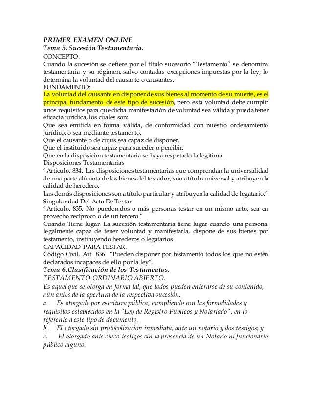 """PRIMER EXAMEN ONLINE  Tema 5. Sucesión Testamentaria.  CONCEPTO.  Cuando la sucesión se defiere por el título sucesorio """"T..."""