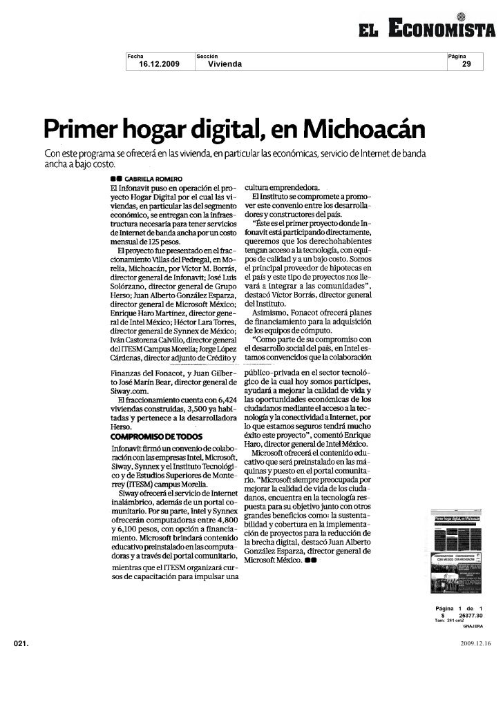 Primer hogar digital en Michoacan             Con este programa se ofrecerá en las vivienda en particular las económicas s...