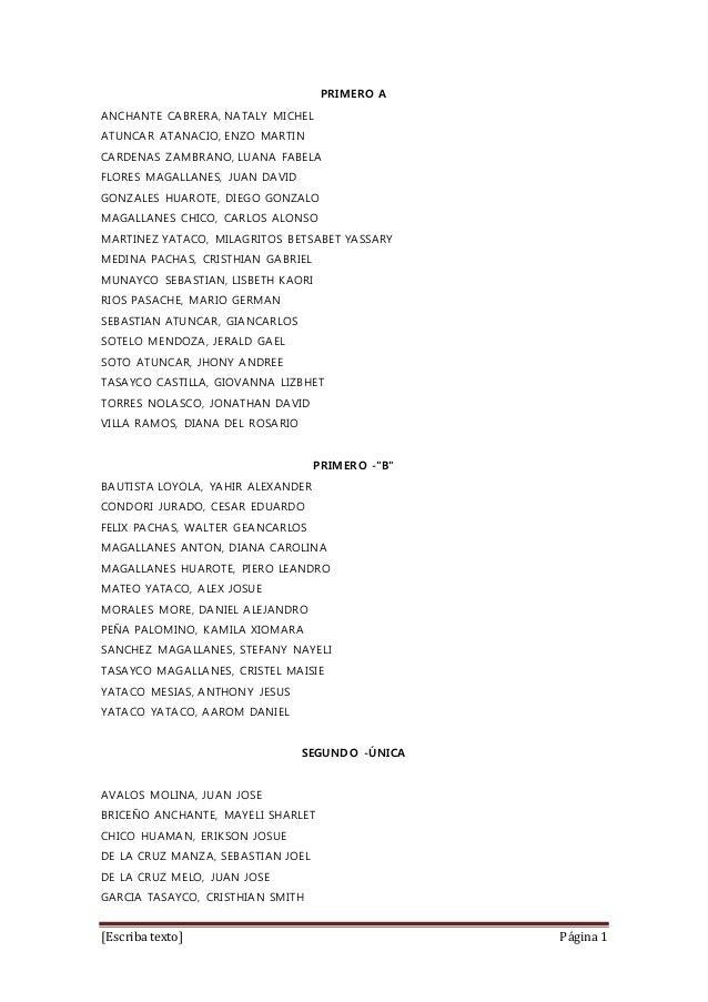 [Escriba texto] Página 1 PRIMERO A ANCHANTE CABRERA, NATALY MICHEL ATUNCAR ATANACIO, ENZO MARTIN CARDENAS ZAMBRANO, LUANA ...