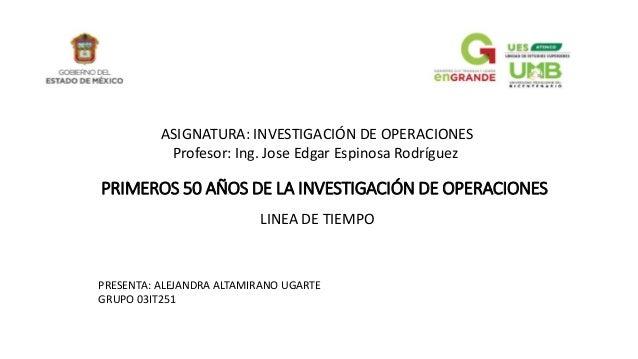 PRIMEROS 50 AÑOS DE LA INVESTIGACIÓN DE OPERACIONES LINEA DE TIEMPO ASIGNATURA: INVESTIGACIÓN DE OPERACIONES Profesor: Ing...
