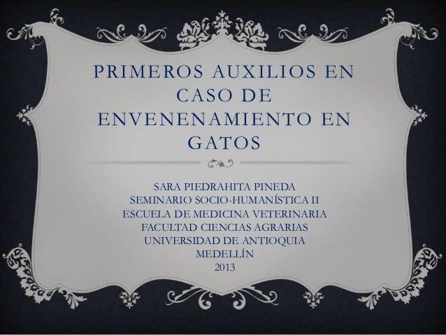 PRIMEROS AUXILIOS ENCASO DEENVENENAMIENTO ENGATOSSARA PIEDRAHITA PINEDASEMINARIO SOCIO-HUMANÍSTICA IIESCUELA DE MEDICINA V...