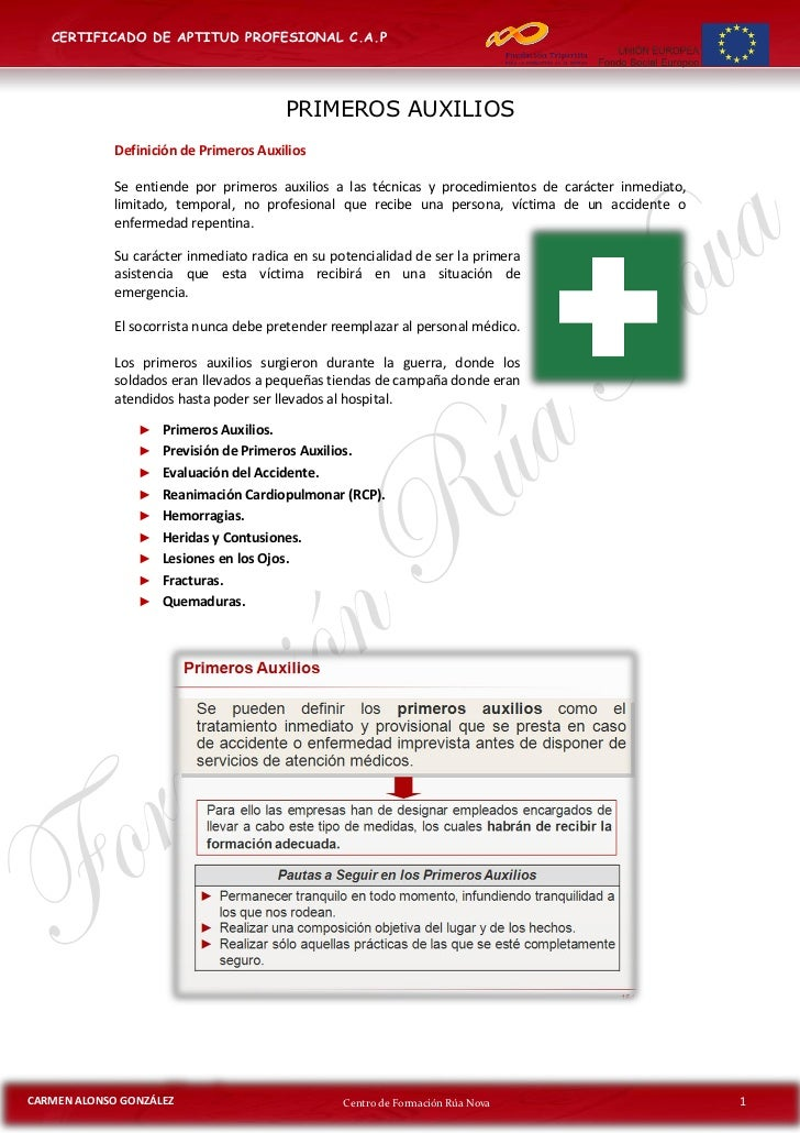 CERTIFICADO DE APTITUD PROFESIONAL C.A.P                                        PRIMEROS AUXILIOS             Definición d...