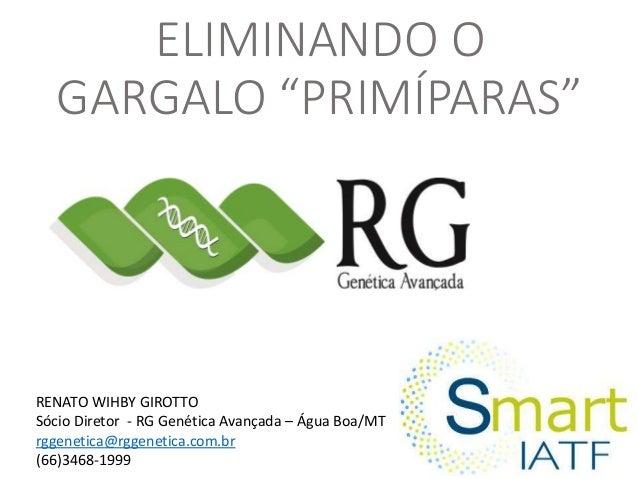 """ELIMINANDO O GARGALO """"PRIMÍPARAS"""" RENATO WIHBY GIROTTO Sócio Diretor - RG Genética Avançada – Água Boa/MT rggenetica@rggen..."""