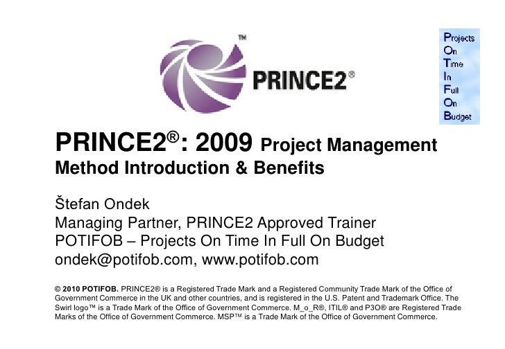 Prince2 2009 & its benefits   potifob stefan ondek