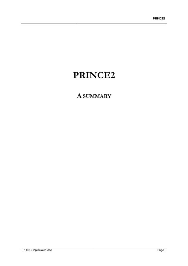 Prince2 practioner abstract