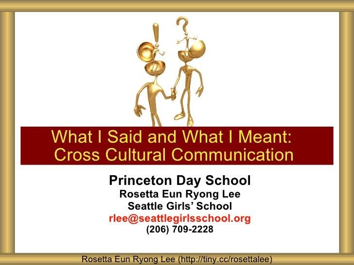 Princeton Day School Cross Cultural Communication