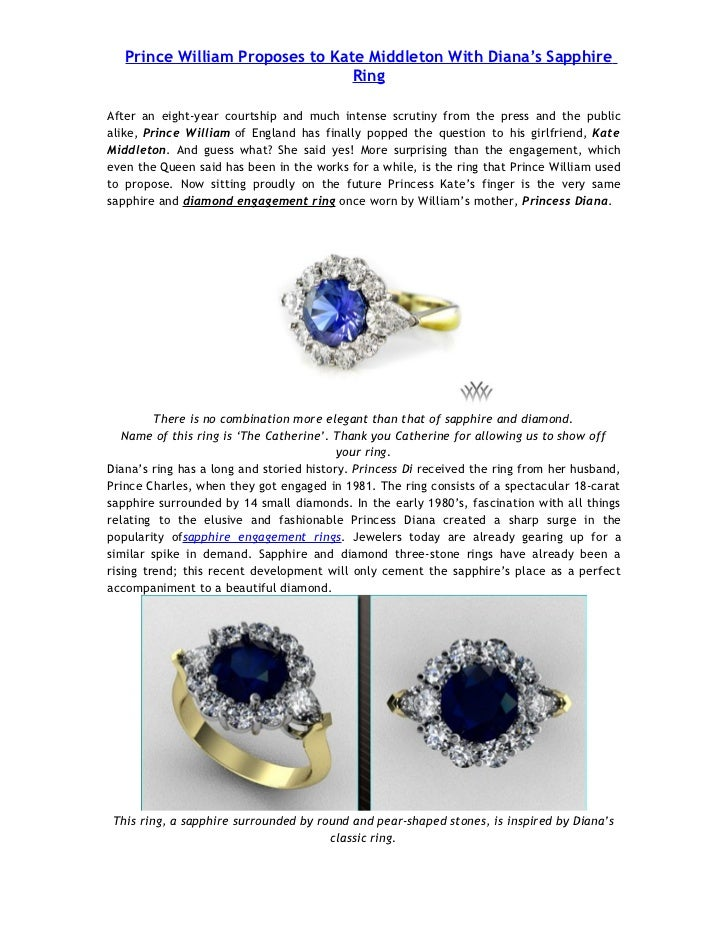 Prince William Proposes to Kate Middleton With Diana's Sapphire                                 RingAfter an eight-year co...