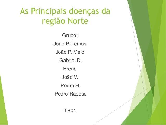 As Principais doenças da região Norte Grupo: João P. Lemos João P. Melo Gabriel D. Breno João V. Pedro H. Pedro Raposo T:8...