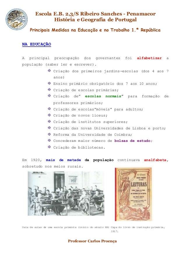 Escola E.B. 2,3/S Ribeiro Sanches - Penamacor História e Geografia de Portugal Professor Carlos Proença Principais Medidas...