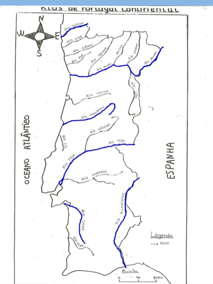 Portugal Mapa de Los Ríos