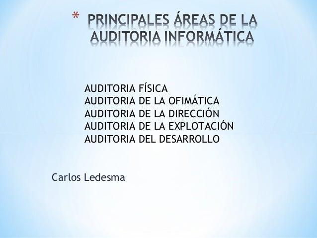 AUDITORIA   FÍSICA      AUDITORIA   DE LA OFIMÁTICA      AUDITORIA   DE LA DIRECCIÓN      AUDITORIA   DE LA EXPLOTACIÓN   ...