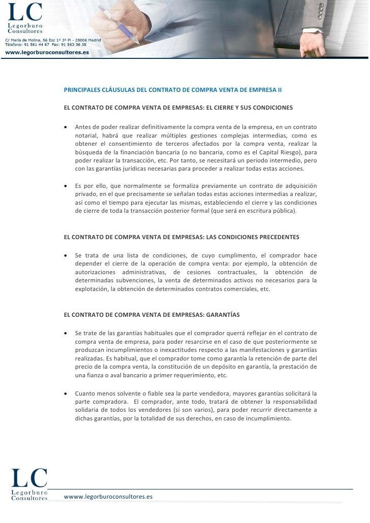 PRINCIPALES CLÁUSULAS DEL CONTRATO DE COMPRA VENTA DE EMPRESA IIEL CONTRATO DE COMPRA VENTA DE EMPRESAS: EL CIERRE Y SUS C...