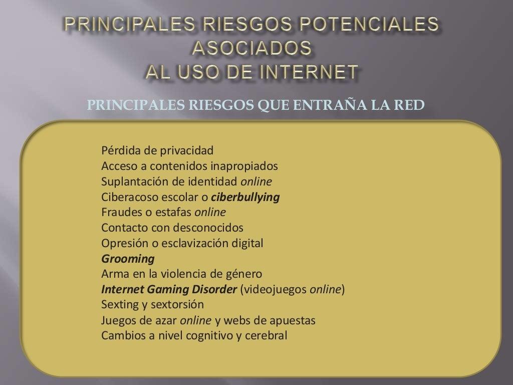 PRINCIPALES RIESGOS QUE ENTRAÑA LA RED Pérdida de privacidad Acceso a contenidos inapropiados Suplantación de identidad on...