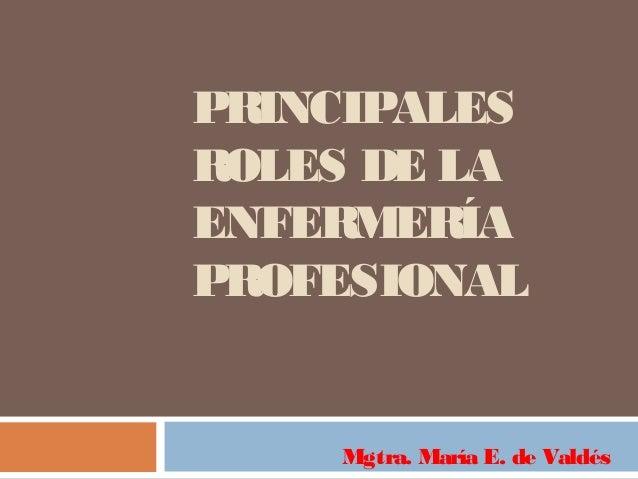 PRINCIPALESROLES DE LAENFERMERÍAPROFESIONALMgtra. María E. de Valdés