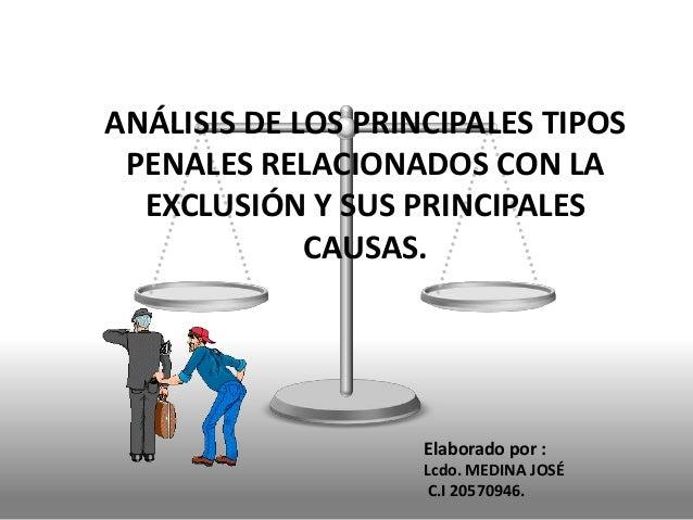 ANÁLISIS DE LOS PRINCIPALES TIPOS PENALES RELACIONADOS CON LA EXCLUSIÓN Y SUS PRINCIPALES CAUSAS.  Elaborado por : Lcdo. M...