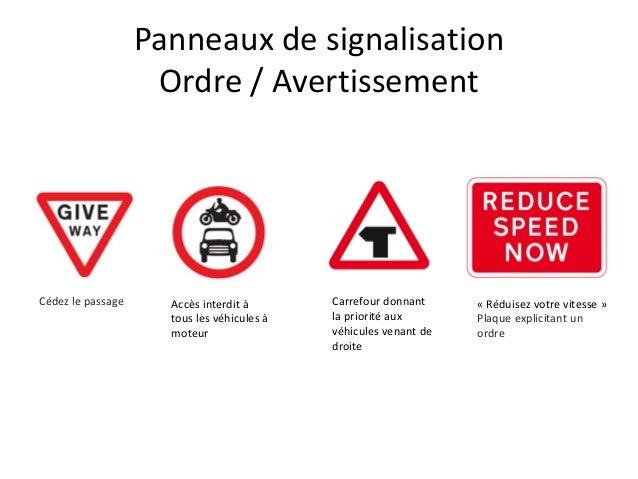 Panneaux de signalisation Ordre / Avertissement Cédez le passage Accès interdit à tous les véhicules à moteur Carrefour do...