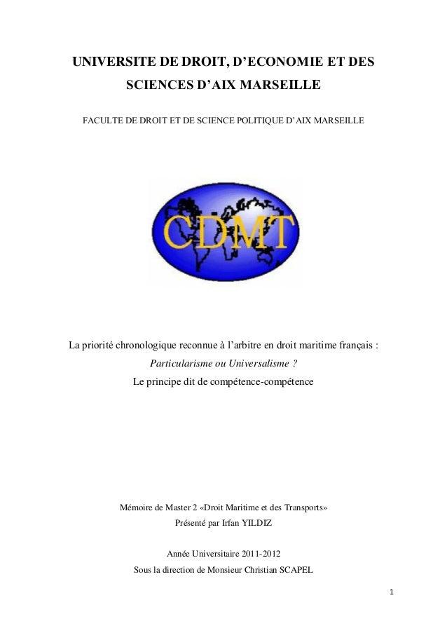 1 UNIVERSITE DE DROIT, D'ECONOMIE ET DES SCIENCES D'AIX MARSEILLE FACULTE DE DROIT ET DE SCIENCE POLITIQUE D'AIX MARSEILLE...