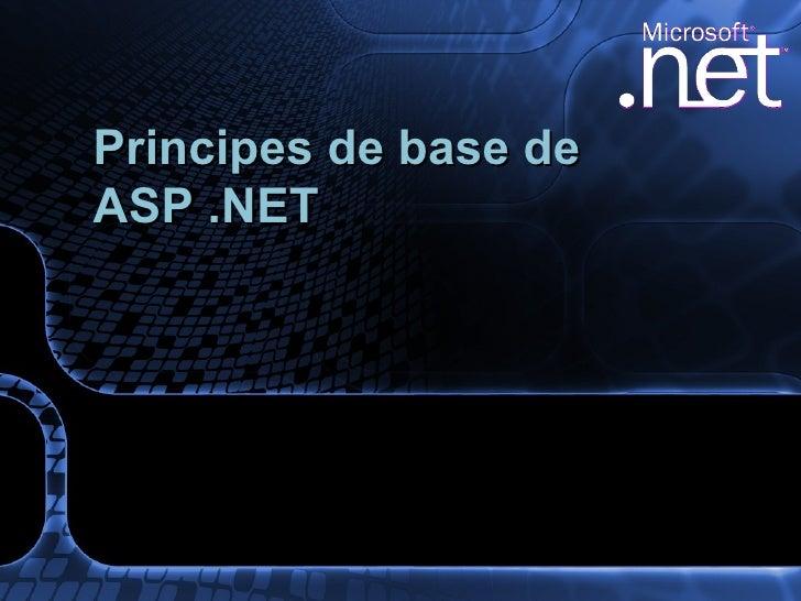 Principes de base de ASP .NET