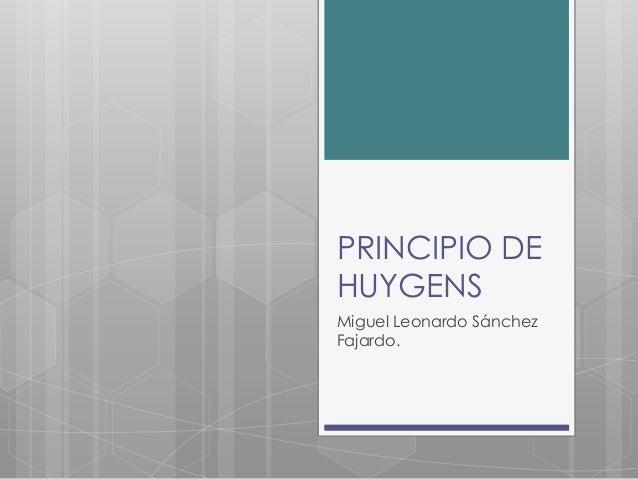 PRINCIPIO DE HUYGENS Miguel Leonardo Sánchez Fajardo.