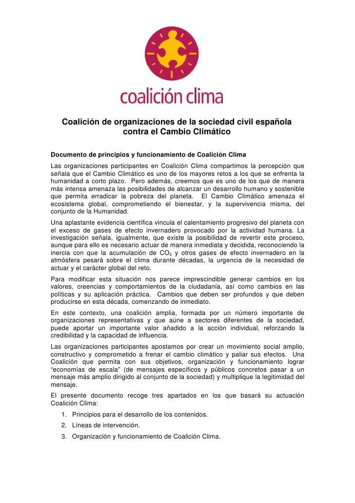 Coalición de organizaciones de la sociedad civil española                   contra el Cambio Climático  Documento de princ...