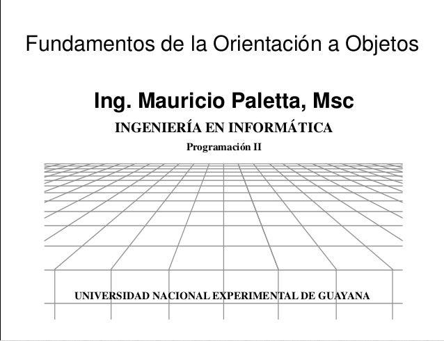 Programación II Ing. Mauricio Paletta, Msc Presentación Fundamentos de la Orientación a Objetos UNIVERSIDAD NACIONAL EXPER...