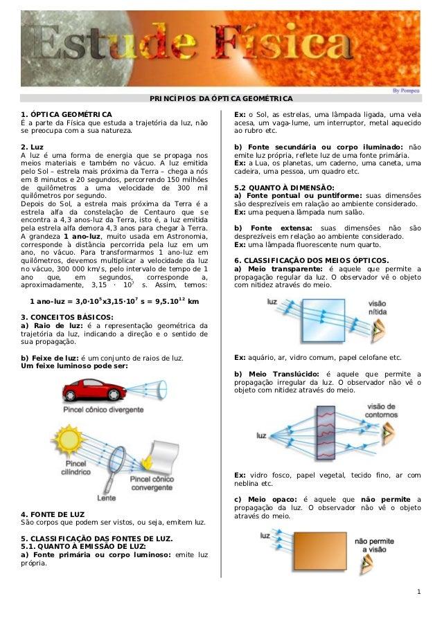 PRINCÍPIOS DA ÓPTICA GEOMÉTRICA1. ÓPTICA GEOMÉTRICA                                      Ex: o Sol, as estrelas, uma lâmpa...