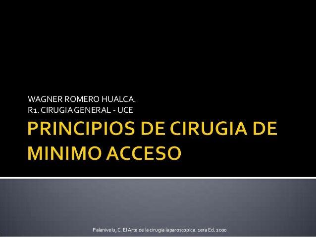 WAGNER ROMERO HUALCA.R1. CIRUGIAGENERAL - UCEPalanivelu,C. El Arte de la cirugia laparoscopica. 1era Ed. 2000