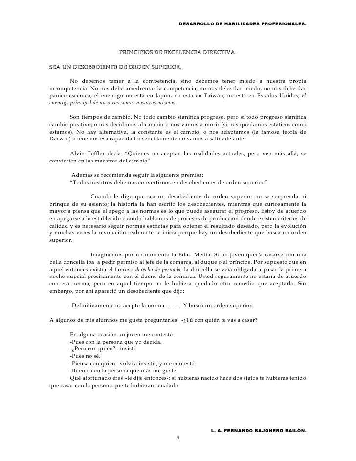 DESARROLLO DE HABILIDADES PROFESIONALES.                           PRINCIPIOS DE EXCELENCIA DIRECTIVA.SEA UN DESOBEDIENTE ...
