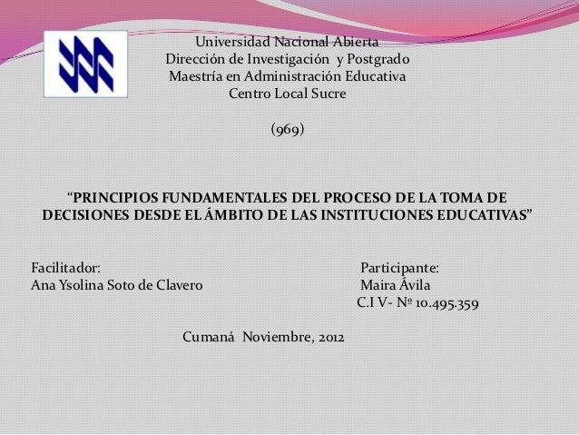 Universidad Nacional Abierta                     Dirección de Investigación y Postgrado                     Maestría en Ad...