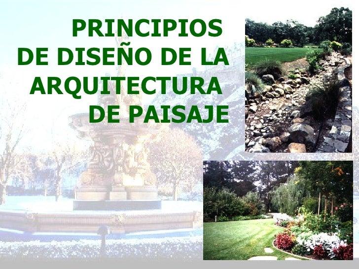 principios del dise o de la arquitectura del paisaje