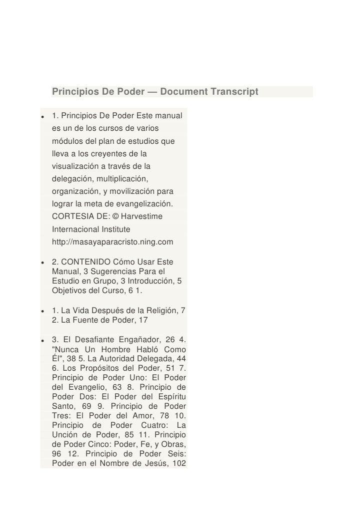 Principios De Poder — Document Transcript1. Principios De Poder Este manuales un de los cursos de variosmódulos del plan d...