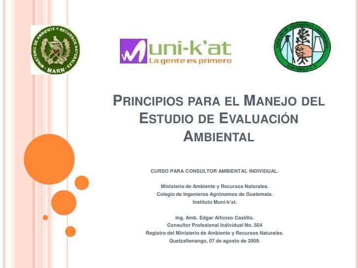 Principios para el Manejo del Estudio de Evaluación Ambiental<br />CURSO PARA CONSULTOR AMBIENTAL INDIVIDUAL.<br />Ministe...
