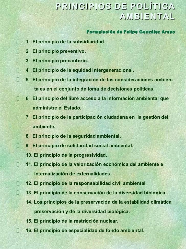 PRINCIPIOS DE POLÍTICA                           AMBIENTAL                              Formulación de Felipe González Arz...