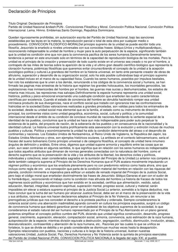 pun.com.do   Declaración de Principios  Titulo Original: Declaración de Principios Partido de Unidad Nacional –PUN-....