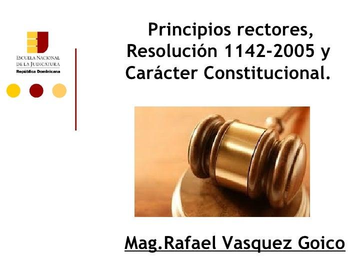 Principios rectores,Resolución 1142-2005 yCarácter Constitucional.Mag.Rafael Vasquez Goico